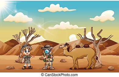 The explorer kids with a camel in the desert