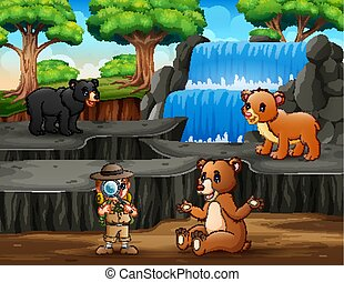 The explorer with bears in nature