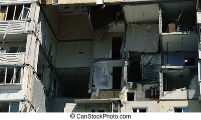 The explosion at home. House explosion as a result of a gas leak. Ukraine. Kiev.