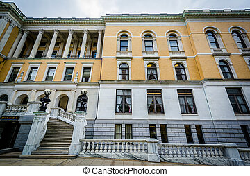 The exterior of the Massachusetts State House, in Boston, Massachusetts.
