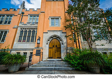 The exterior of Trinity Episcopal Cathedral, in Columbia, South Carolina.