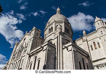 The external architecture of Sacre Coeur, Montmartre, Paris, France