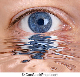 Blue eye is reflected in the water