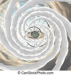 The Eye of God - God's Eye, time spiral and vortex of clouds