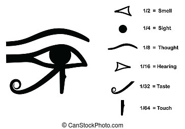 The Eye of Horus (Eye of Ra, Wadjet) believed by ancient Egyptians to have healing and protective powers. Divided into six parts, each part represents a mathematical fraction and one of the six senses. Vector illustration saved as EPS AI8.