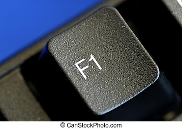 The F1 key represents Help or Assistance isolated on blue