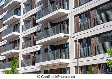 The facade of a modern apartment building