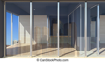 The facade of an empty office building. 3D rendering