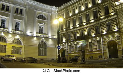 The facade of an old building in St. Petersburg Night