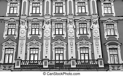 The facade of an old building.