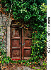 The facade of an old rusty door, overgrown with a beautiful green arch
