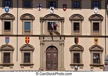 The facade of building in Arezzo