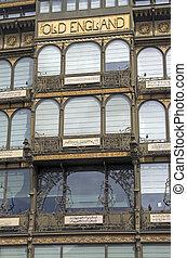 The facade of the building in Art Nouveau style. - Facade of...