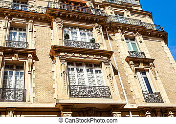 The facade of the building in Paris, France