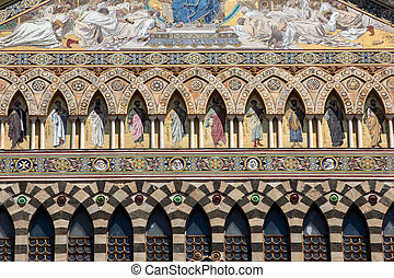 The facade of the cathedral of the St Andrew in Amalfi. ...
