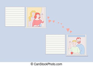 The facade of the house with open windows and neighbors. Two girls wave their hands to two men in the next window. Friendship and love, communication in quarantine, stay at home. Concept - stay home. Vector illustration.