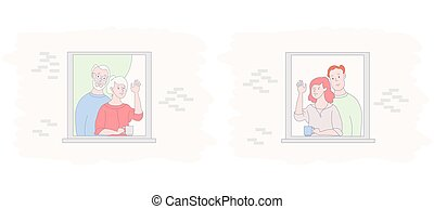 The facade of the house with open windows. The neighbors greet, wave their hands and drink tea. An elderly couple and a young family communicate. Friendship, stay at home, communication. The concept is to stay home and isolation during quarantine. Vector illustration.