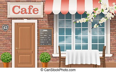 The facade of the traditional cafe. - Facade of a...