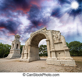 The facade of the Triumphal Arch of Glanum,...