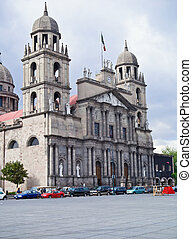 the twin tower Cathedral of Toluca de Lerdo, Mexico. - the...
