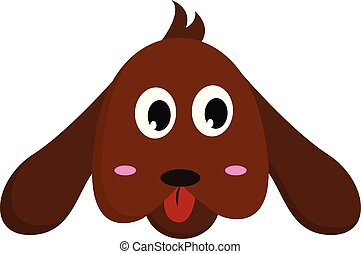 The face of a brown cartoon dog vector or color illustration