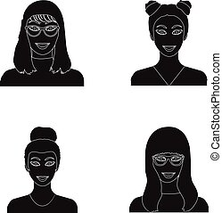The face of a girl with glasses, a woman with a hairdo. Face and appearance set collection icons in black style vector symbol stock illustration web.