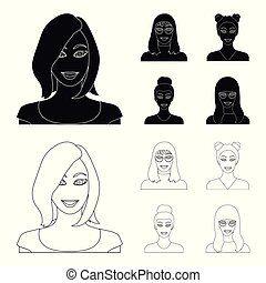 The face of a girl with glasses, a woman with a hairdo. Face and appearance set collection icons in black,outline style vector symbol stock illustration web.
