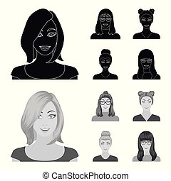 The face of a girl with glasses, a woman with a hairdo. Face and appearance set collection icons in black,monochrom style vector symbol stock illustration web.