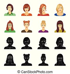The face of a girl with glasses, a woman with a hairdo. Face and appearance set collection icons in black,cartoon style vector symbol stock illustration web.