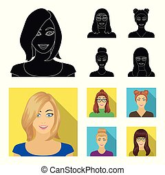 The face of a girl with glasses, a woman with a hairdo. Face and appearance set collection icons in black, flat style vector symbol stock illustration web.