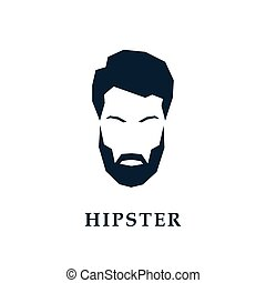 The face of a hipster with a hair, beard and mustache.