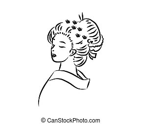 The face of a Japanese woman on a white background. Sketch. Vector