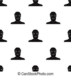 The face of a man with a beard and mustache. Face and appearance single icon in black style vector symbol stock illustration web.