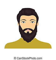 The face of a man with a beard and mustache. Face and appearance single icon in cartoon style vector symbol stock illustration web.