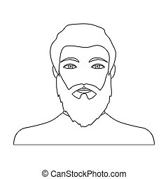 The face of a man with a beard and mustache. Face and appearance single icon in outline style vector symbol stock illustration web.
