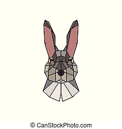 The face of a rabbit. Polygonal style.