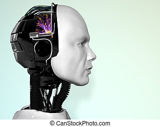 The face of a robot man. - An image of a robot man\'s head...