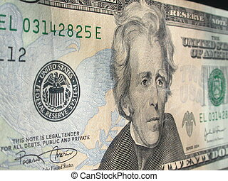 Twenty Dollar Bill - The Face of Andrew Jackson appearing on...