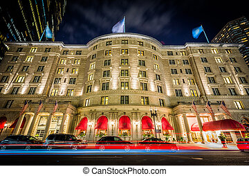 The Fairmont Copley Plaza at night, at Copley Square, in...