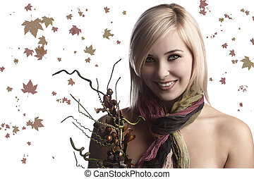 the fall girl with bouquet