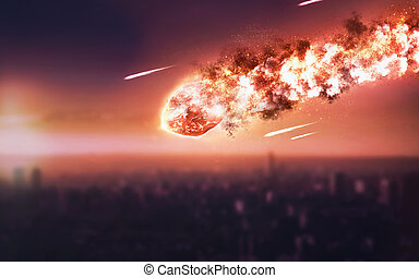 The Falling Meteor Rain. Comet in space, meteor and energy,...