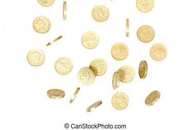 british pound coins falling and tumbling on a white back ground