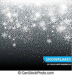 The falling snow on a transparent background. Snowfall. Christmas. Snowflakes. Snowflake vector illustration