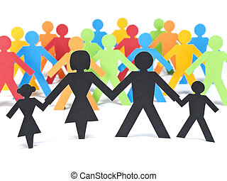 The family first - A paper family holding hands in front of...