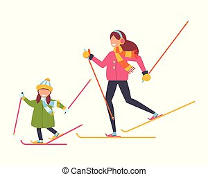 The family is skiing. Mother and daughter. Winter sports. Vector illustration
