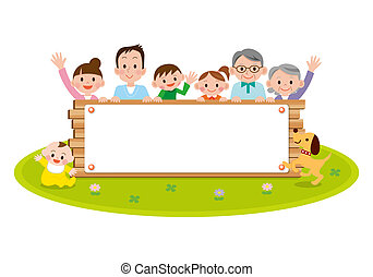 illustration of family peeping behind placard