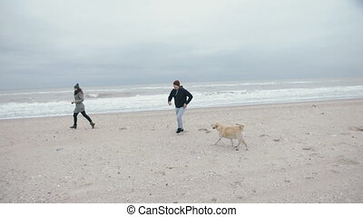 The family runs around the beach playing games. A cheerful family with a dog near the ocean.