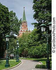 The famous Alexander Garden near the walls of the Moscow Kremlin