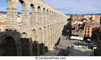 The famous aqueduct in Segovia - The famous ancient aqueduct...