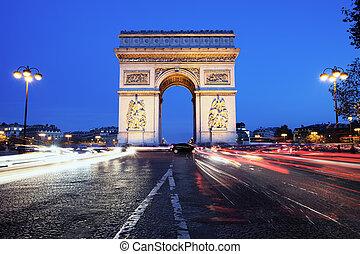 the famous Arc - Paris, Arc de Triomphe by night